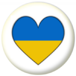 Ukraine Country Flag Heart 25mm Button Badge